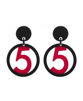 Boucles d'oreilles n°5 noir et rouge en résine Marion Godart
